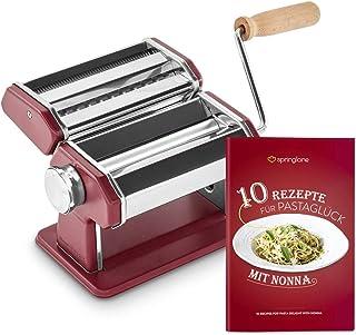 Máquina de fideos manual Nonna, Acero inoxidable, Máquina para hacer pasta, incluye secador de pasta y 3 accesorios para cortar espaguetis, lasaña, tallarines - Ruby Earth