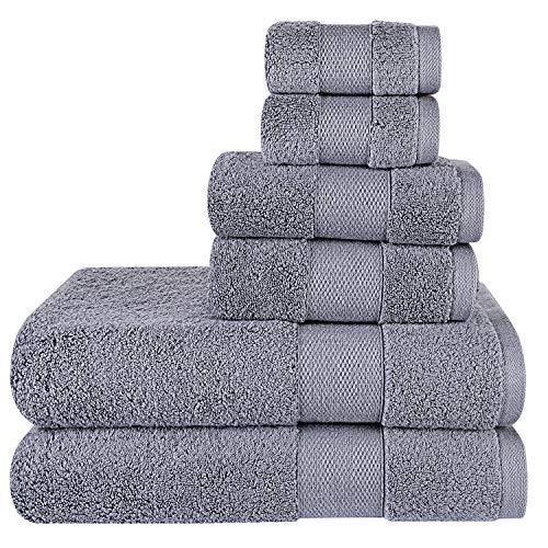 Wonwo 100% Cotton Towel Sets, 600 GSM Luxury Bath Towels 6 Piece Set - 2 Bath Towels, 2 Hand Towels, and 2 Washcloths - Blue Grey