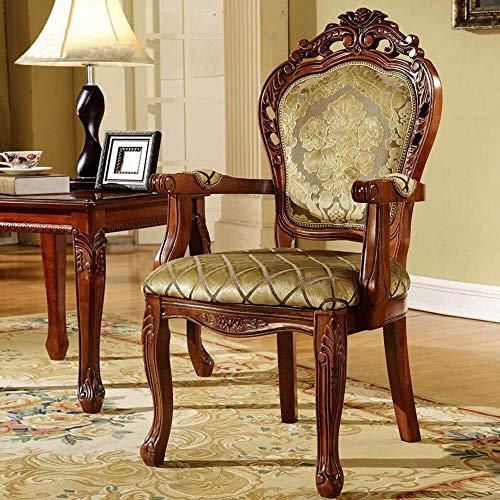 YUXIwang Sillas de comedor, cocina, encimera, tela tallada, silla de comedor europea, sillón de madera americana, fácil de montar, adecuado 2 piezas (color: marrón, tamaño: 52 x 50 x 106 cm)
