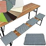 Set x4 de cojines para bancos de picnic o jardín 25 x 36 cm - Cojines con bandas de sujeción para anchos de banco de 25 cm, Color:Cuadros azul