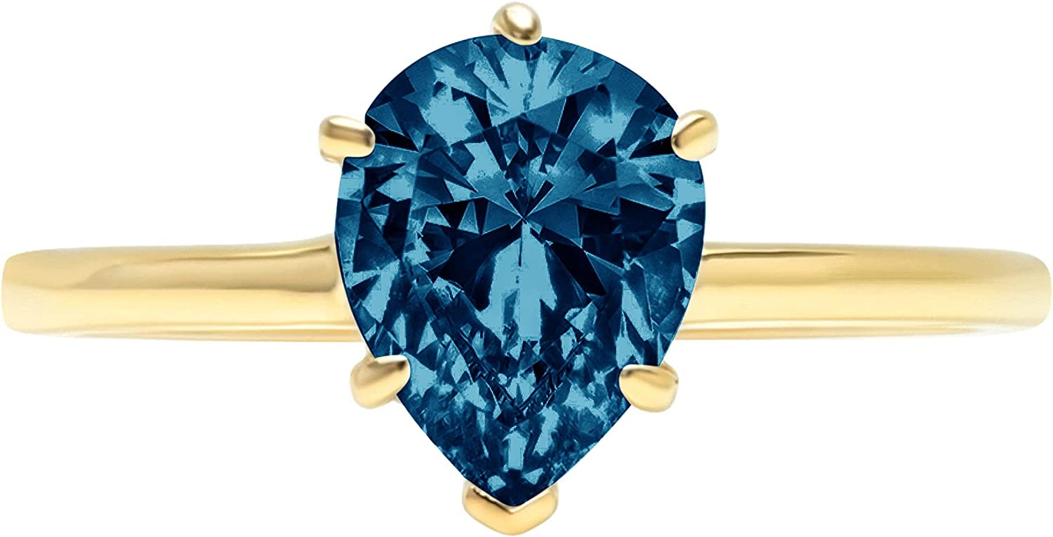 2.6 ct Brilliant Pear Cut Solitaire Stunning Flawless London Blue Topaz 6-Prong Classic Designer Statement Ring Solid 18K Yellow Gold for Women