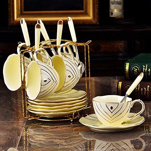 QMPZG Tazzine da caffè Il Lussuoso Palazzo Avorio Porcellana tè Caffe 'Oggi Pomeriggio Coppa Europea con Una Pentola d'oro A Mano,D