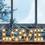 Lights4fun Scritta Decorativa Love in Legno con LED a Pile