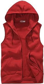 Mens Casual Sleeveless Sport Hoodie Zip Up Vest