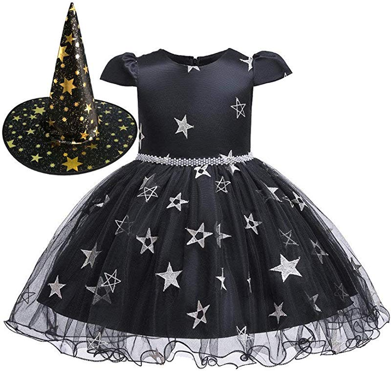 Jin Co Princess Dresses For Girls Dance Performance Halloween Party Dress Witch Hat Costume Outfits Set Dress Up