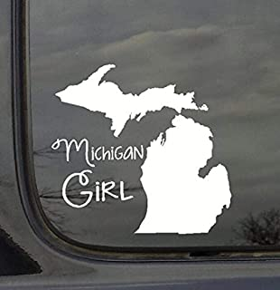 Wall Decor Plus More WDPM3011 State Girl Silhouette Michigan Vinyl Car Decal, White