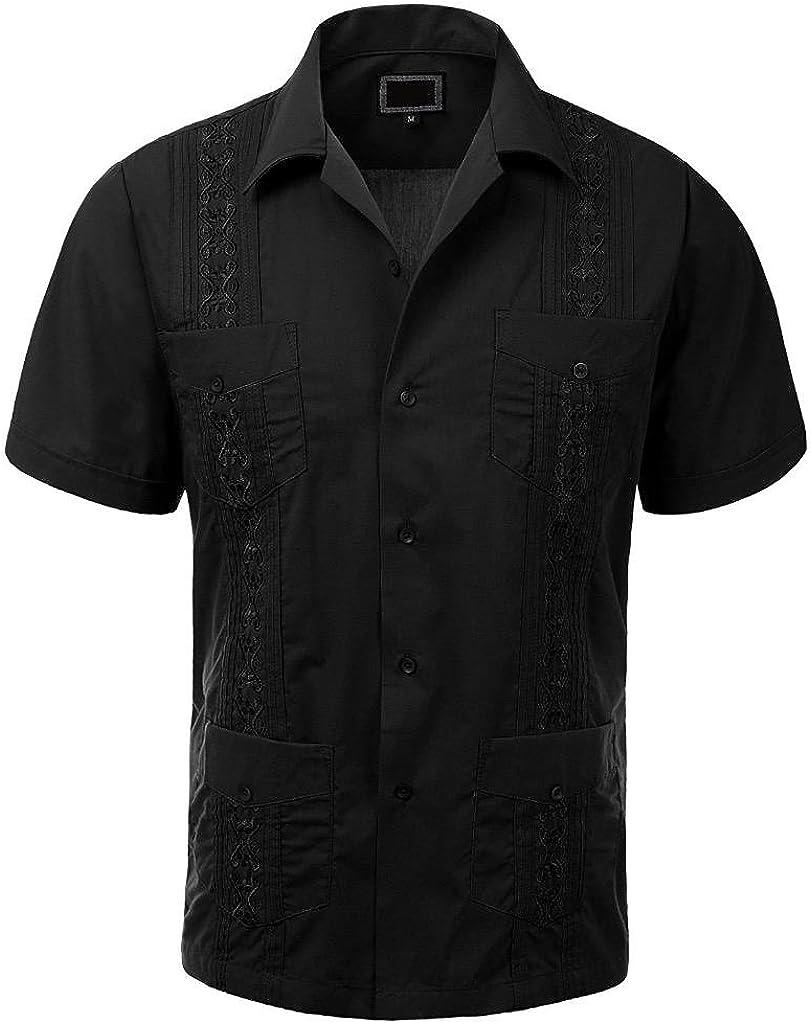 vkwear Guayabera Fixed price for sale Men's Cuban Beach Short Wedding Long-awaited Sleeve Button-u