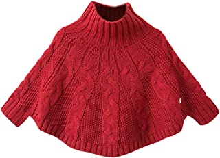 Baby Girls Solid Turtleneck Cable Knitted Sweater Poncho Capes Pullover Hoodie