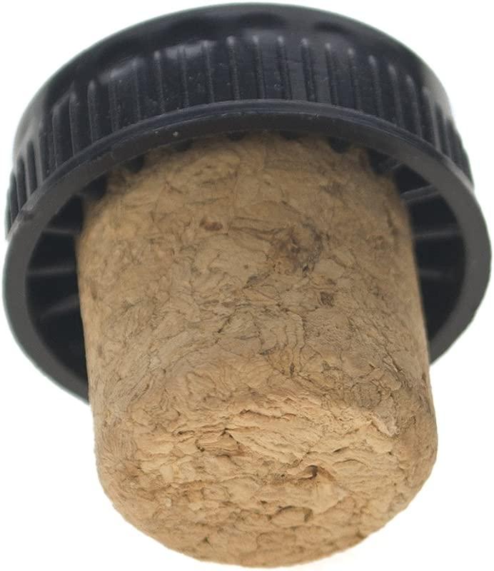 Aspire T Top Bottle Stopper Plastic Top Tasting Cork Straight Cork Rubber Stopper 20 Pack Black Cork Beige 1