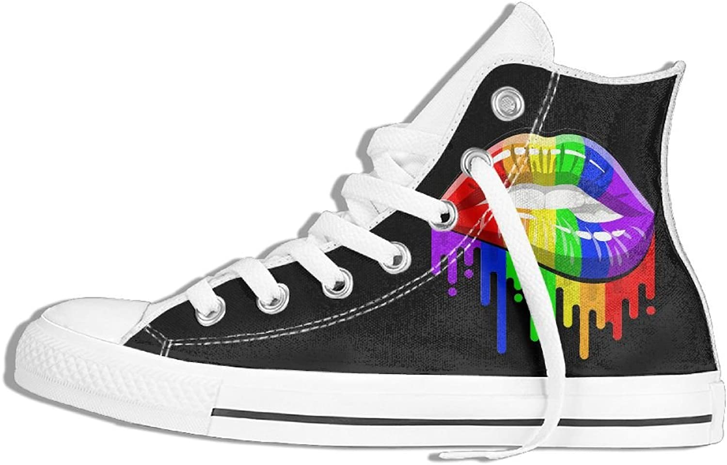 Unisex High Top Sneakers LGBT Rainbow Lips Classic Canvas shoes Breathable Sneaker