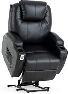 Mecor Lift Chairs for Elderly,Power Lift Recliners,PU Leather Reclining Lift Chair with Massage/Heat/Cup Holders/Remote Control for Living Room (Black-Upgraded)