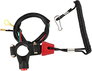 Universal Boat Outboard Motor Kill Stop Switch & Safety Tether Lanyard, 12V 2-Wires Motorcycle Engine On Off Kill Switch ATV Quad Dirt Bike Handlebar Mount Tether for Yamaha/Tohatsu/Honda (1 pc)