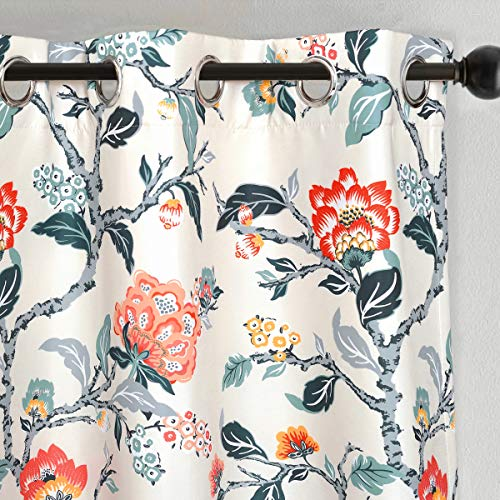 DriftAway Ada Floral Botanical Print Flower Leaf Lined Thermal Insulated Room Darkening Blackout Grommet Window Curtains 2 Layers Set of 2 Panels Each 52 Inch by 84 Inch Ivory Orange Teal