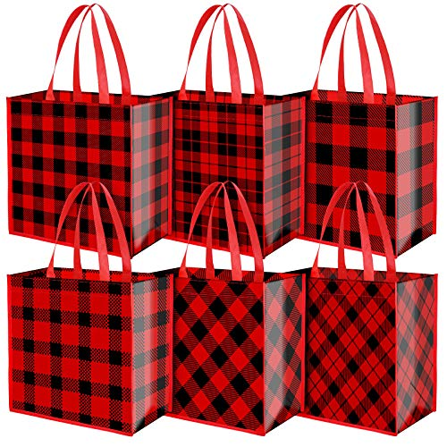 Aneco 12 Pieces Extra Large Christmas Party Bags 14 x 13.8 x 7.5 Inches Red and Black Plaid Non-Woven Bags Gift Candy Tote Bags for Party Supplies