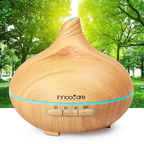 Aroma Diffuser 300ml Luftbefeuchter Öl Ultraschall Düfte Humidifier Holzmaserung LED mit 7 Farben für Babies Kinderzimmer Haus, Auto, Wohnzimmer, Schlafzimmer, Büro, Yoga, Spa, Raum usw.