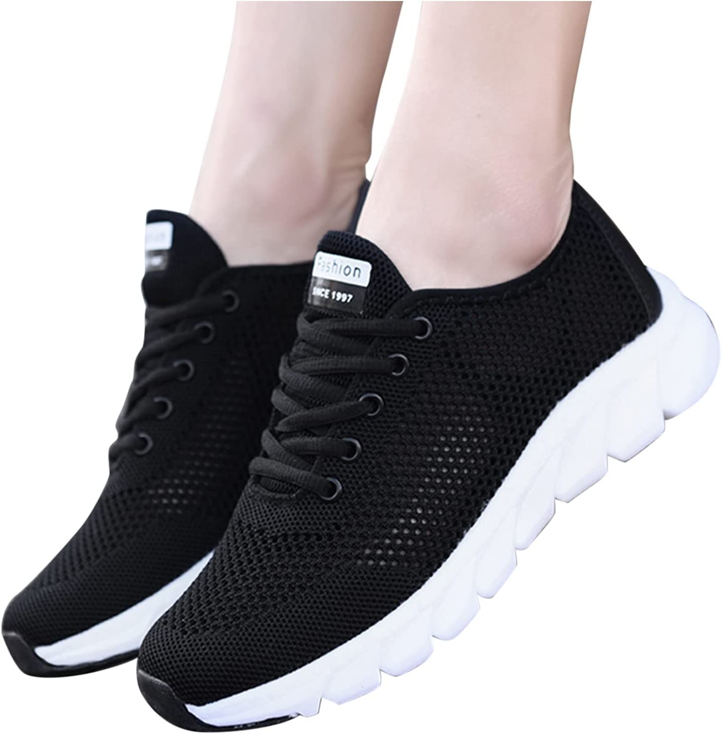 Women's FashionSneaker Women Lightweight Sneaker Stylish Athletic Shoes Mesh Comfy Slip-on Shoes Casual Walking Sandal