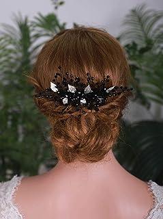 YERTTER Black Crystal Bridal Hair Comb Clip Silver Leaf Wedding Hair Accessories for Bride Bridesmaid