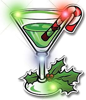 Light Up Christmas Martini Flashing Blinking LED Body Light Lapel Pins (5-Pack)