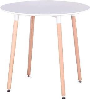 comprar comparacion GrandCA Mesa de Comedor, Mesa de Cocina Redonda Blanca nórdica Moderna con Patas de Madera de Haya para la Oficina del Com...