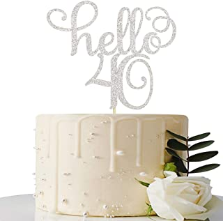 Sliver Glitter Hello 40 Cake Topper - Cheer to 40th Years - 40 and Fabulous Cake Topper - 40th Birthday/Wedding Anniversary Party Sign Decorations