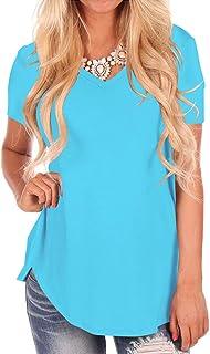 Women Comfy Undershirt V Neck Short Sleeve Top Tee Shirts 2XL Lake Blue