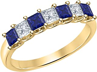 Princess Cut Gemstone Half Eternity 14k Yellow Gold Over Sterling Silver Wedding 7-Stone Band Ring for Women