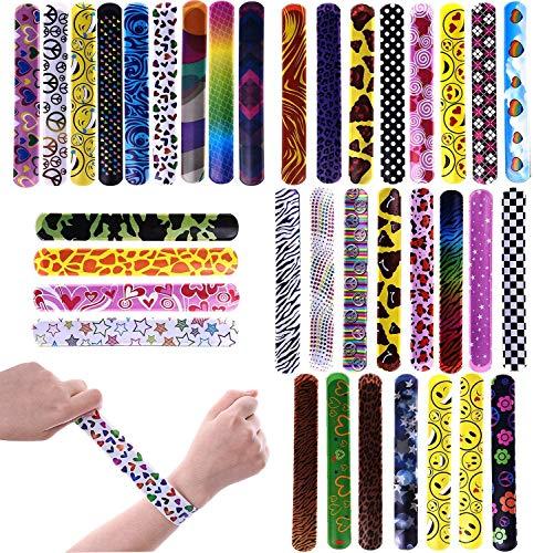72PCs Slap Bracelets for Party Favors Pack with Colorful Hearts Emoji Animal Print Design Retro Slap Bands for Kids Prizes, Kids Party Favors, Pinata Fillers