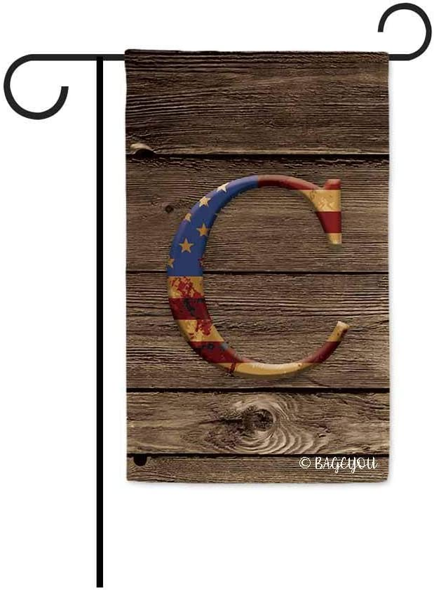 BAGEYOU US Flag Decorative Monogram C Patriotic Garden Flag Initial Letter Wooden Banner for Outside 12.5X18 Inch Printed Double Sided