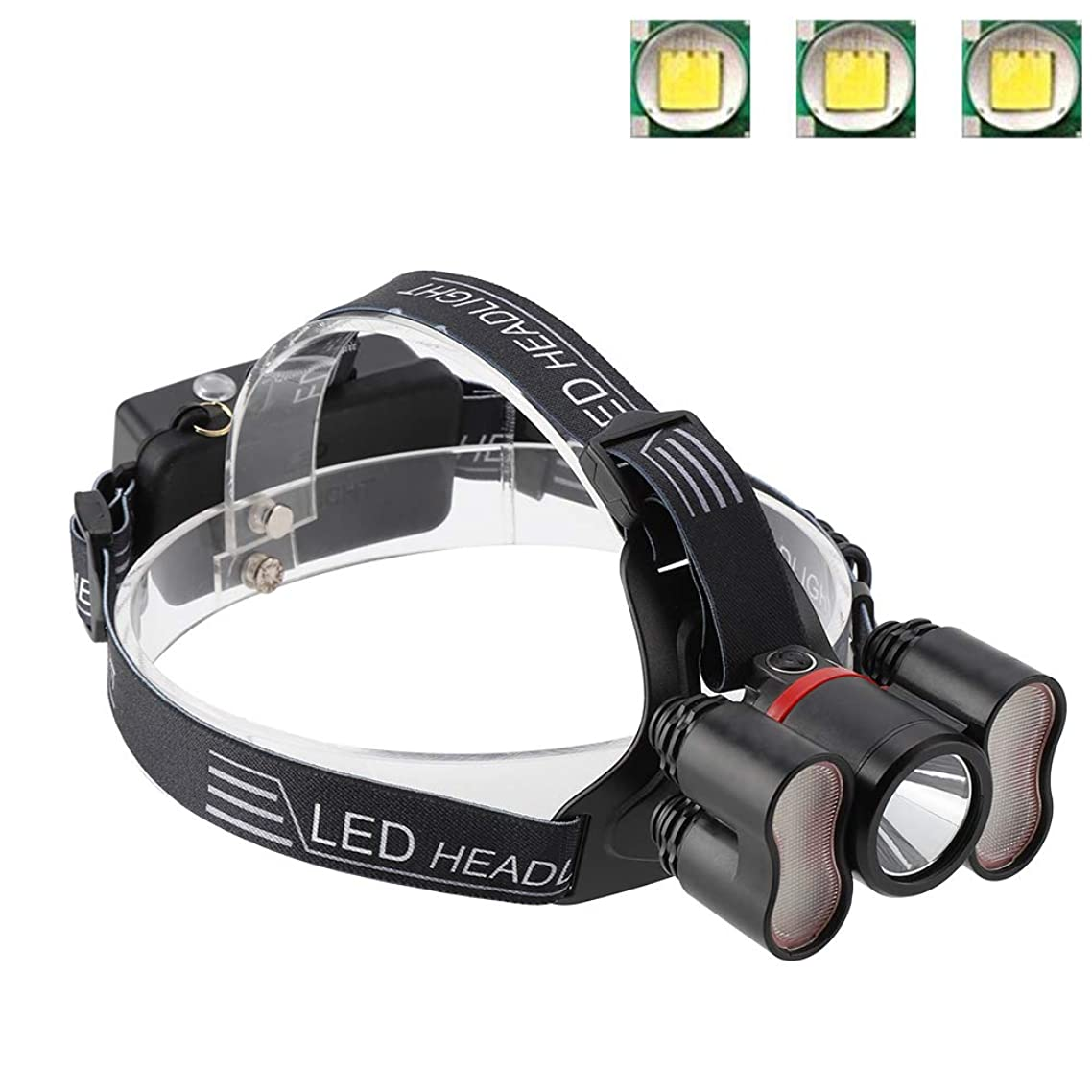 うれしい軽減振り返るヘッドライト懐中電灯、2000LMヘッドライト18650 LED USB充電式防水トラベルヘッドトーチキャンプランプランニングハイキング釣りに適して(#1)