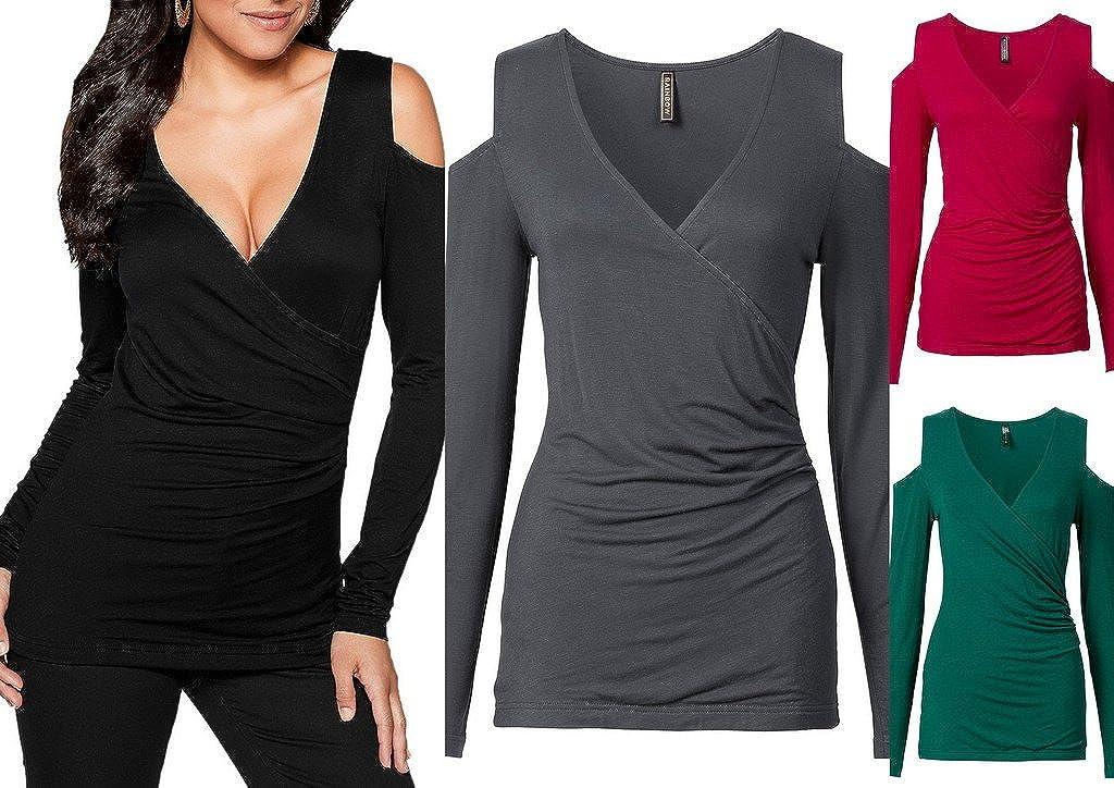 Jixin4you Long Sleeve Off Shoulder T-Shirt Blouse Tee for Women CA19