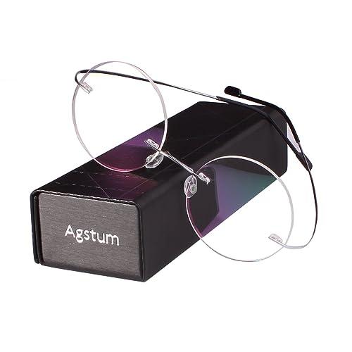 cf9df9a79eaa1 Agstum Pure Titanium Round Prescription Rimless Glasses Frame 46mm