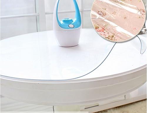 BSNOWF- Tischdecken TranSpaßente Weiße Glas Plastik Tischdecke wasserdicht ölBesteändig leicht zu reinigen Kaffee Mats runde Tischmatten