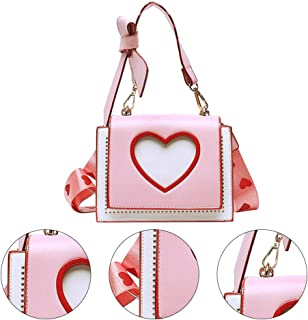 KESYOO Women Shoulder Bag PU Leather Tote Bags with Heart Bowknot Crossbody Clutch Satchel Handbag Purse for Girls Students Shopping