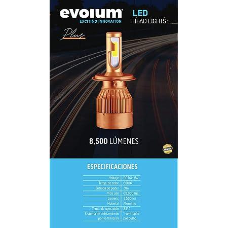 Evolum Kit de Focos LED H4 9007 H3 H11 C6 40w para Faros Principales con Alta, Bajas y Biled(Altas y Bajas) (H7)