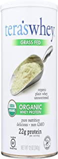 Grass Fed Organic Whey Protein - Organic Plain Unsweetened 12 Ounce (340 Grams) Pwdr