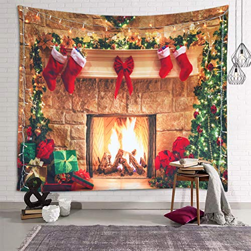 Sevendec Christmas Tapestry Wall Hanging Fireplace Xmas Tree Stockings Gifts Wall Tapestry for Party Livingroom Bedroom Dorm Home Decor W59 x L39