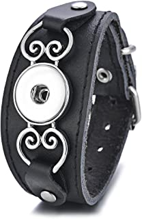 Vocheng Snap Jewelry Genuine Leather Bracelet Buckle Heart Black Adjustable Fit 18mm Interchangeable Button Charms Jewelry ANN-606