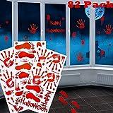 82 Piezas de Pegatinas Calcomanías de Clings de Ventana Suelo Pared de Huellas de Mano Huellas de Pies de Sangre para Halloween Fiesta de Vampiro Zombi