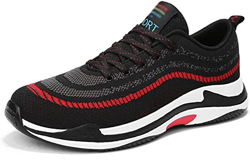RENMEN Frühling Dick-Sohlen Herren Sport Laufschuhe Flying Weave Cloth Large Größe Breathable Paar Schuhe 39-47, rot