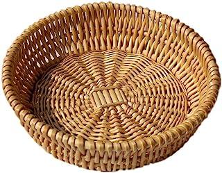 Natural Wicker Fruit Basket Bread Basket Tray Storage Basket Willow Woven Fruit Basket Bread Serving Basket, Round Shallow Basket