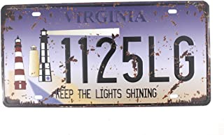 6x12 Inches Vintage Feel Rustic Home,bathroom and Bar Wall Decor Car Vehicle License Plate Souvenir Metal Tin Sign Plaque (VIRGINIA KEEP THE LIGHTS SHINING)