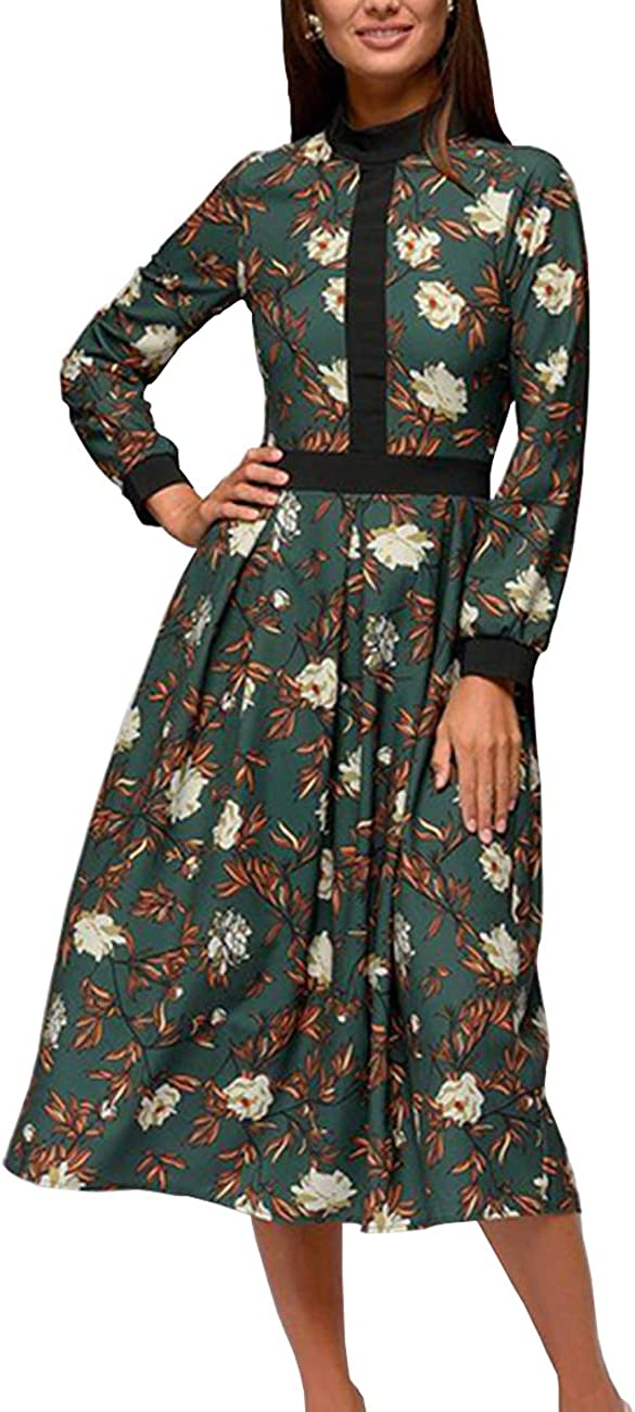 Simple Flavor Women's Floral Vintage Midi Dress Elegant Work Dress Long Sleeve