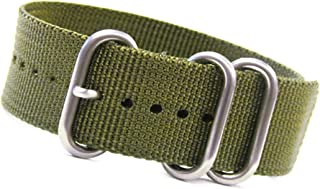 24mm Olive Ballistic Nylon NATO Watch Band with 3 Stainless Steel Rings 10.5/267mm