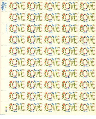 Flower Love Issue Full Sheet of 50 x 20 Cent Stamps Scott 1951 By USPS