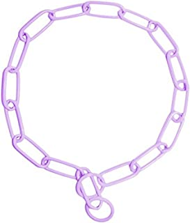 Platinum Pets Stainless Steel Coated Fur Saver Chain Training Collar, 19-Inch by 3mm, Sweet Lilac