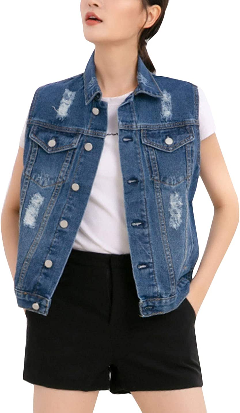 Max 55% OFF Flygo Womens Casual Popular popular Plus Size V Washed Buttoned Distressed Denim