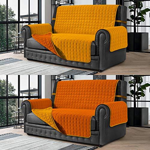Banzaii Cubre Sofá – Funda Sofá Acolchada Reversible – 4 Plazas Naranja y Amarillo para Asiento de 230 a 255 cm