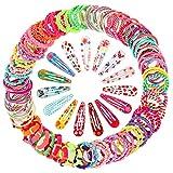 130 Stück Haarschmuck Set mit Elastische Haargummis Haarspangen Haarklammern Haarclips für Mädchen Kinder Baby