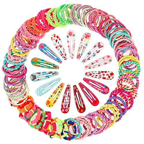 MELLIEX 100 Pezzi Elastici per Capelli Bambine e 30 Pezzi Fermagli per Capelli, Multicolori Accessori per Capelli per Bambina Ragazze