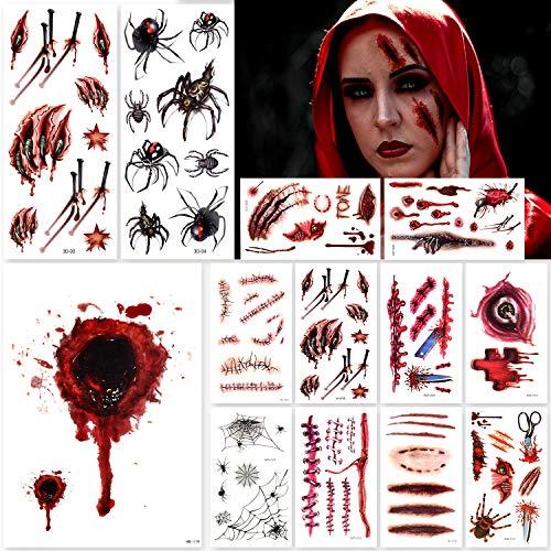 Bukm Halloween Narben Tattoos, 【3 Große-10Kleine Stück】 Halloween Temporäre Tattoos, Sicher Zombie Tattoo, Gefälschte wunden, Wasserdicht Terror Tattoos für Halloween Kostüm Makeup und Cosplay
